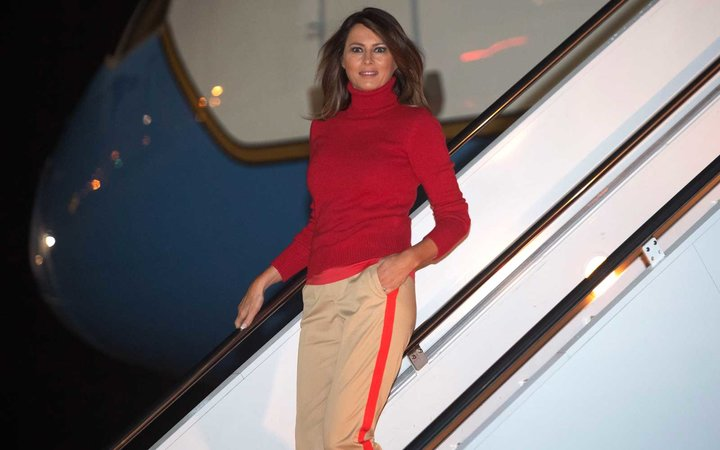 Melania Trump disembarks from a military aircraft upon arrival at Joint Base Andrews in Maryland, early on October 7, 2018, following a six-day, four-country tour of Africa.
