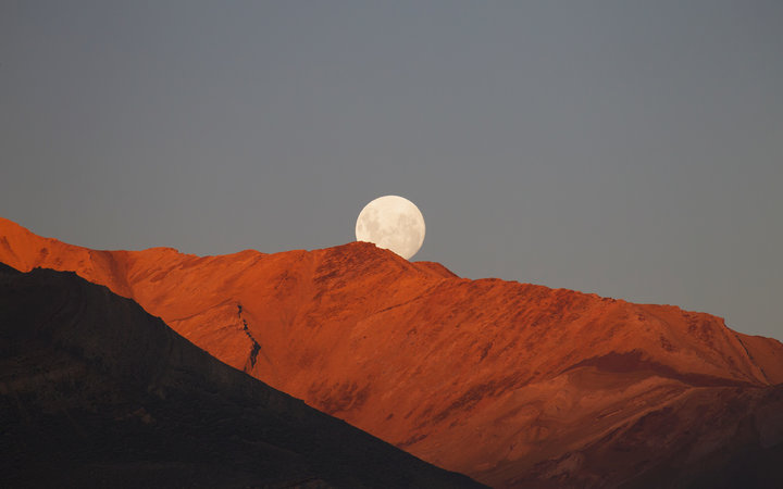 Full moon over Santa Cruz, Argentina