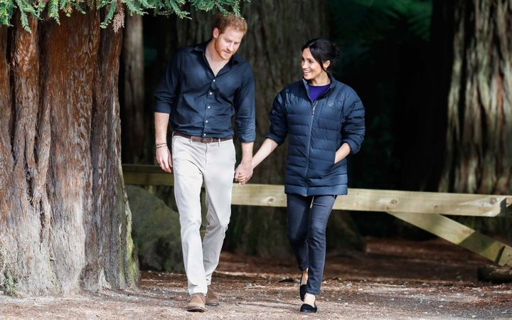 Prince Harry, Duke of Sussex and Meghan, Duchess of Sussex visiting Rotorua's Redwoods Treewalk
