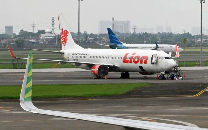 Lion Air and Garuda Indonesia planes at the Sukarno-Hatta International Airport in Tangerang, on the outskirts of Jakarta