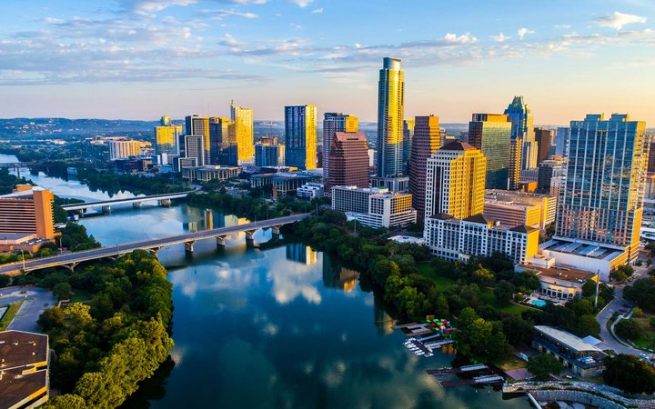 Sunrise Cityscape Austin Texas at Golden Hour Above Tranquil Lady Bird Lake 2017