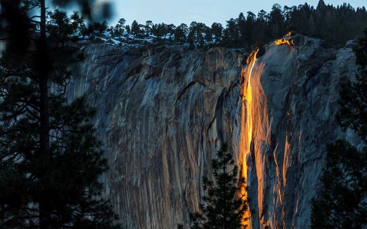 The firefall phenomenon at Yosemite National Park creates a magnificent view in mid-to-late February.