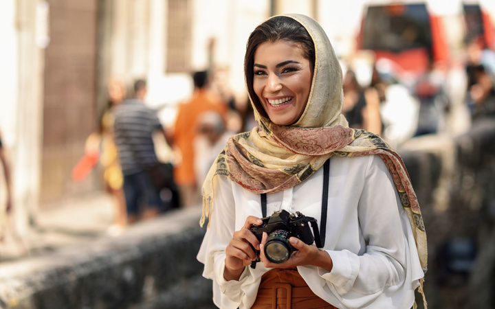 woman tourist with a camera