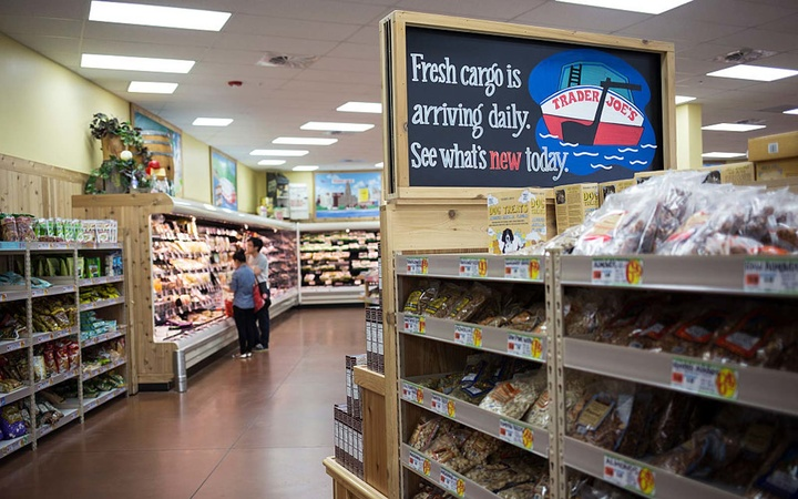 Grocery chain, Trader Joe's, is instantly recognizable once inside. Quirky and witty signs are spread throughout the store, enticing customers