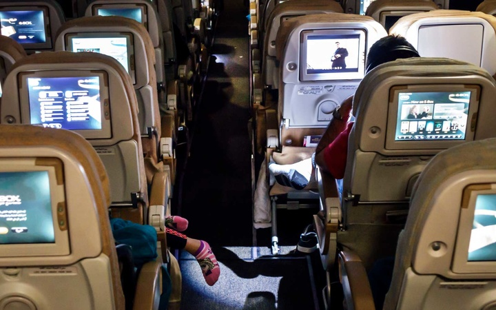 Cabin economy class Etihad Airways flight