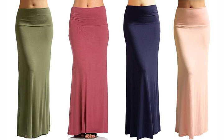 Azules Women'S Rayon Span Regular to Plus Size Maxi Skirt