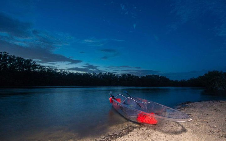 Fully see-through kayaks allow visitors to enjoy the mesmerizing views from every angle.