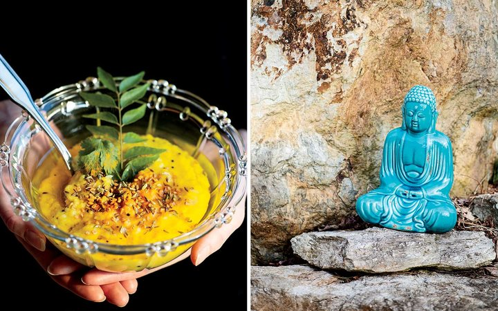 Food and detail at The Art of Living retreat