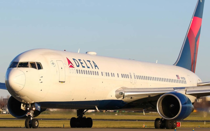 Delta Airlines 767-300 seen on its way to the active runway