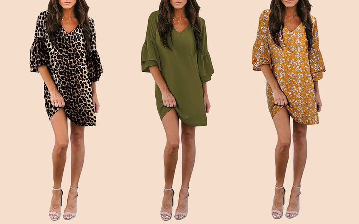 BELONGSCI Sweet & Cute V-Neck Bell Sleeve Shift Mini Dress Lead