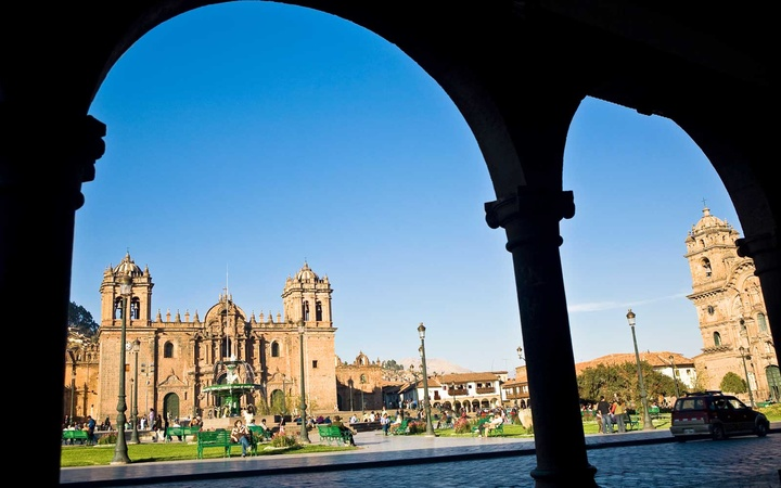 View of Plaza-de-Armas in Cusco, Peru