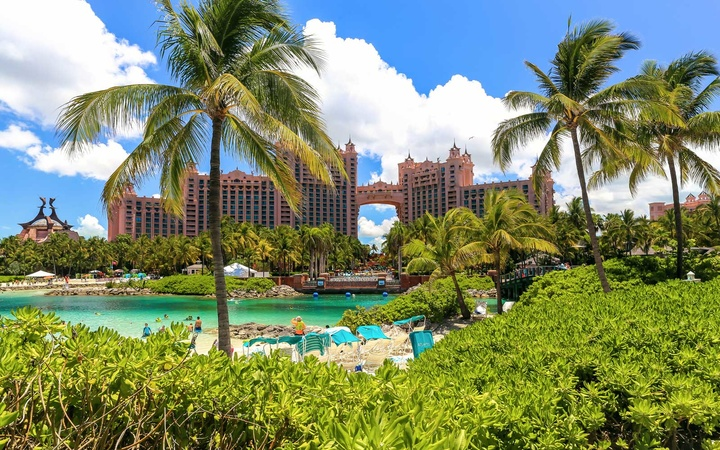 Atlantis Caribbean beach resort and aquarium at Nassau, Bahamas.