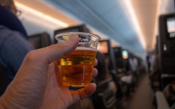 Drinking on airplane