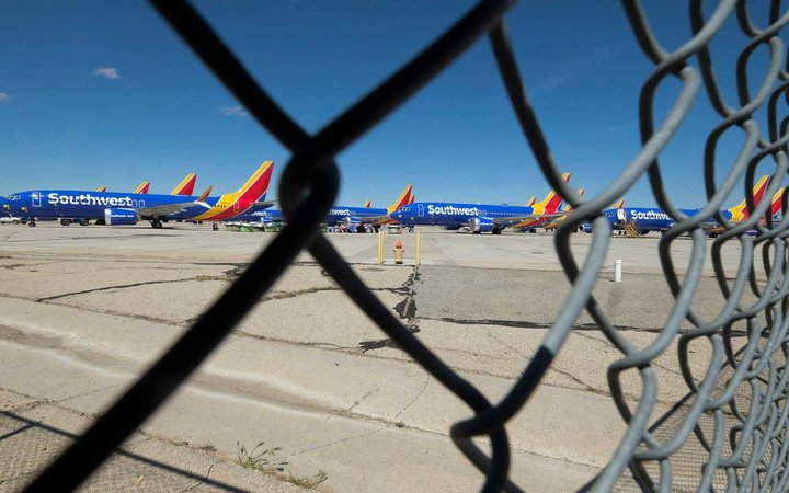 Southwest Airlines Boeing 737 Max aircraft parked at the Southern California Logistics Airport
