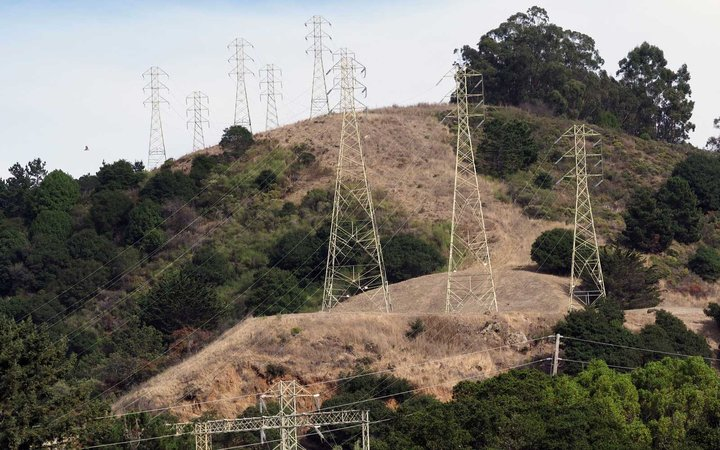 A view of power lines in the hills of Oakland, California, USA, 08 October 2019