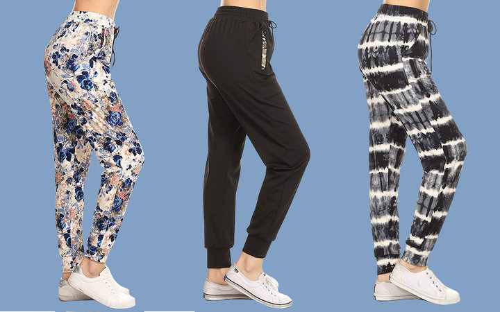 Leggings Depot Women's Printed Solid Activewear Jogger