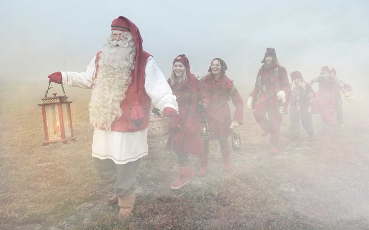 Christmas Elves with Santa in Rovaniemi, Finland