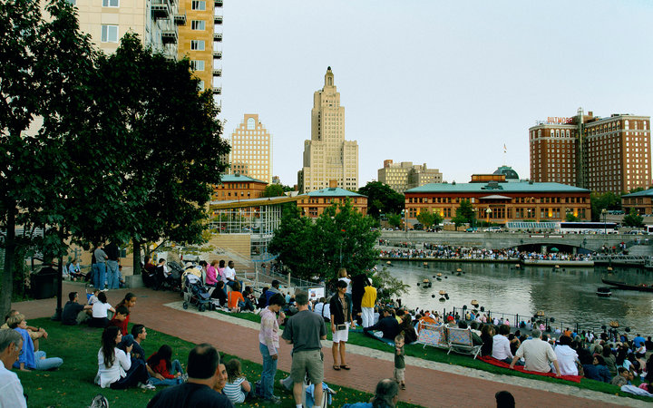 spectators on the waterfront in Providence, RI
