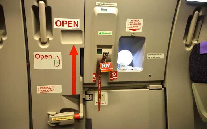 Airplane door interior