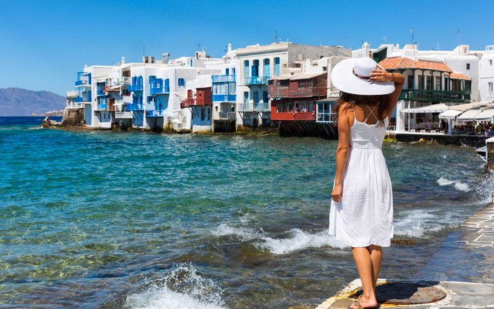 Woman in a dress in Greece