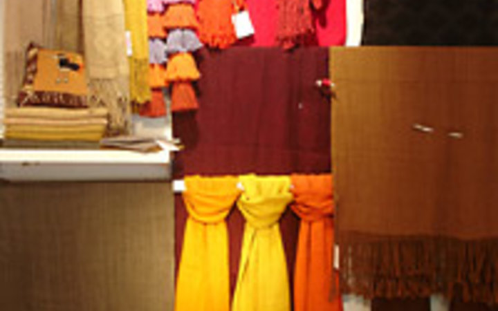 Jose Pedro Pizarro Alpaca scarves for sale at Ona in Santiago