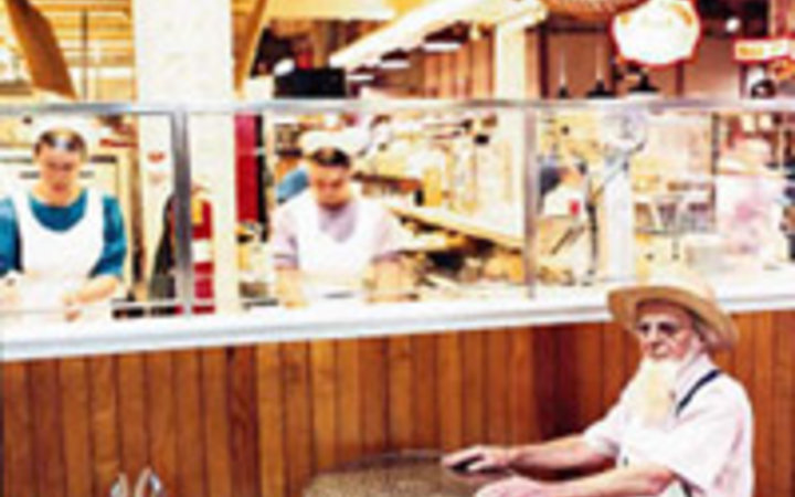 Roy Zipstein Pennsylvania Dutch workers at Fisher's Soft Pretzels in Reading Terminal Market.