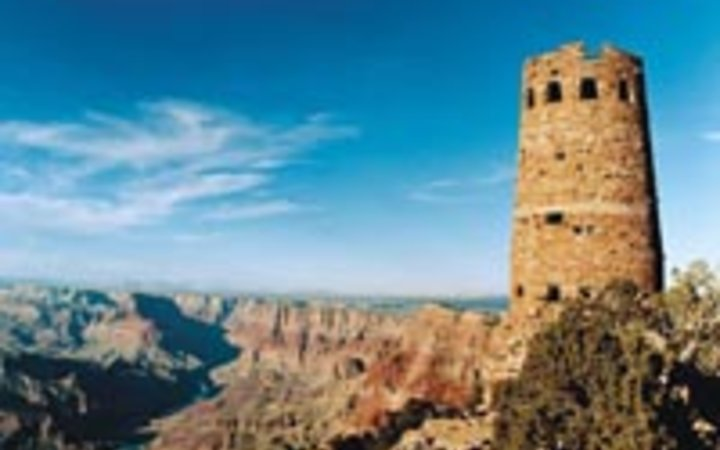 Dave Lauridsen Colter's 1932 Watchtower, with Hopi wall paintings within, on the Grand Canyon.