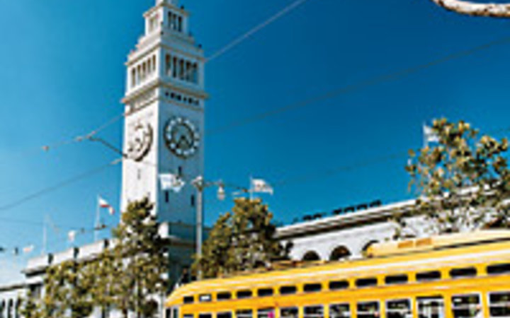Catherine Ledner A view of the Ferry Building tower from the Embarcadero.