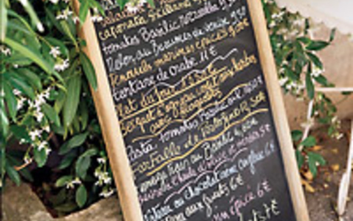 Guy Bouchet A frame of blossoming jaspine adds to the appeal of the bistro's organic menu