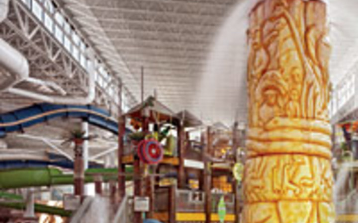 Joshua Lutz At 125,000 square feet, the African-themed Kalahari is the nation's largest indoor water park.