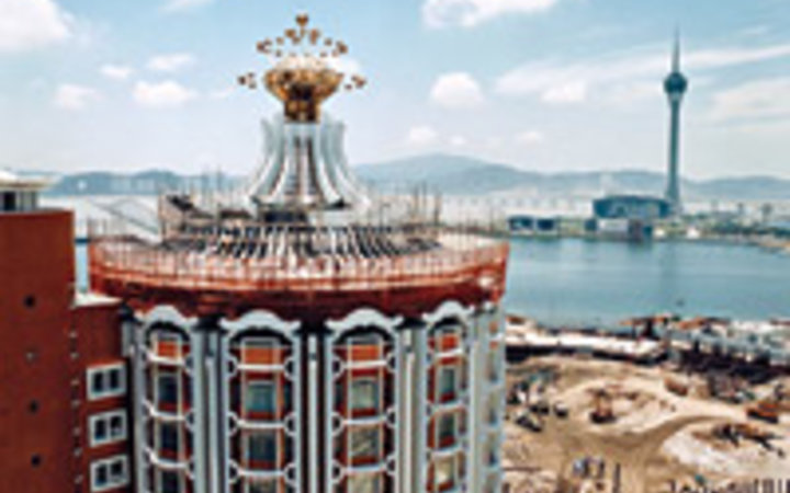 Andrew Rowat The Hotel Lisboa casino overlooking construction of the new Grand Lisboa in Macau.