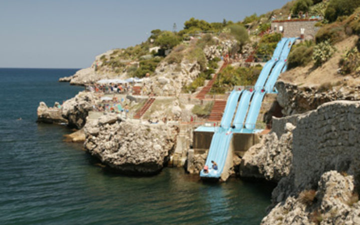 Toboggan into the mediterranean in Citta del Mare Hotel Village, Sicily