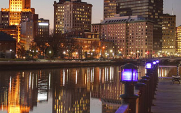 downtown view from the water front in Providence, RI