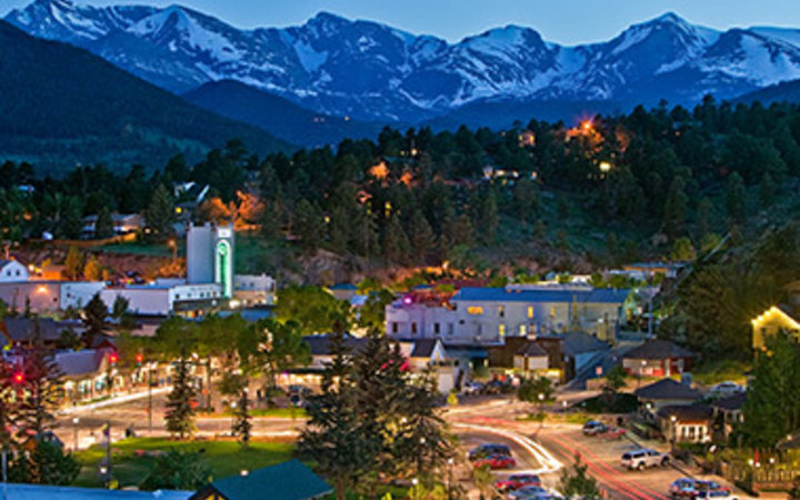 snow-capped mountiains overlooking Estes Park, CO