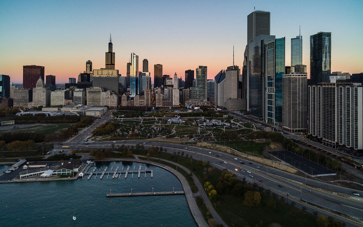 Aerial of Lake Shore Drive in Chicago