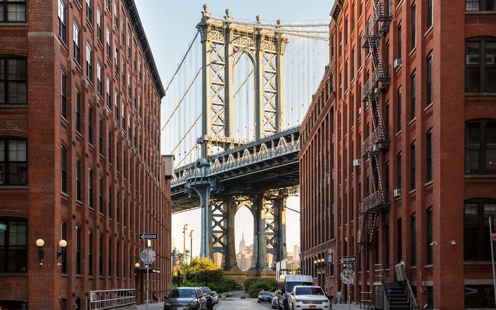 View of the Empire State Building and Manhattan Bridge in DUMBO, Brooklyn