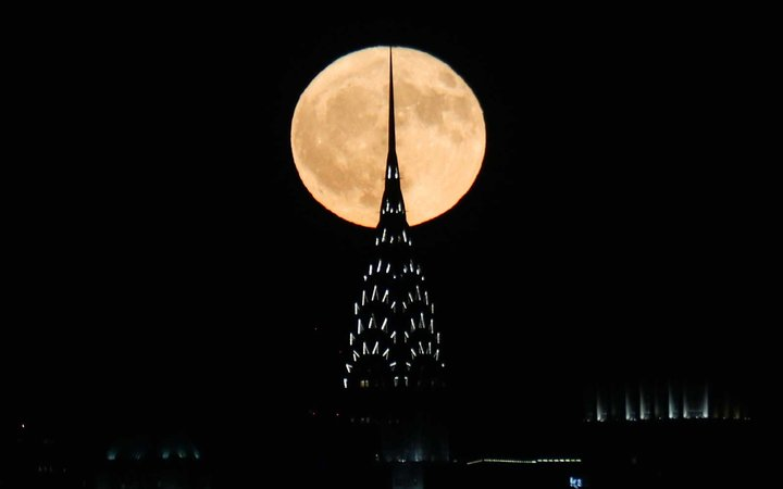 An October full moon called the Hunter's Moon rises over NYC