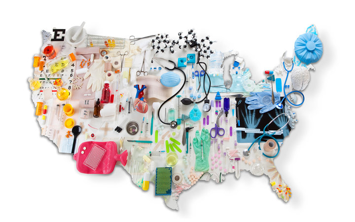 US map made of medical tools and healthcare items