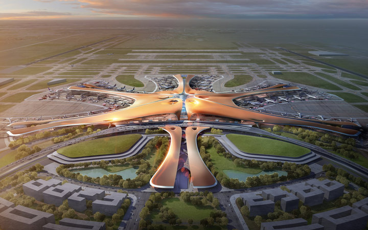 Rendering of the Zaha Hadid designed airport in Beijing