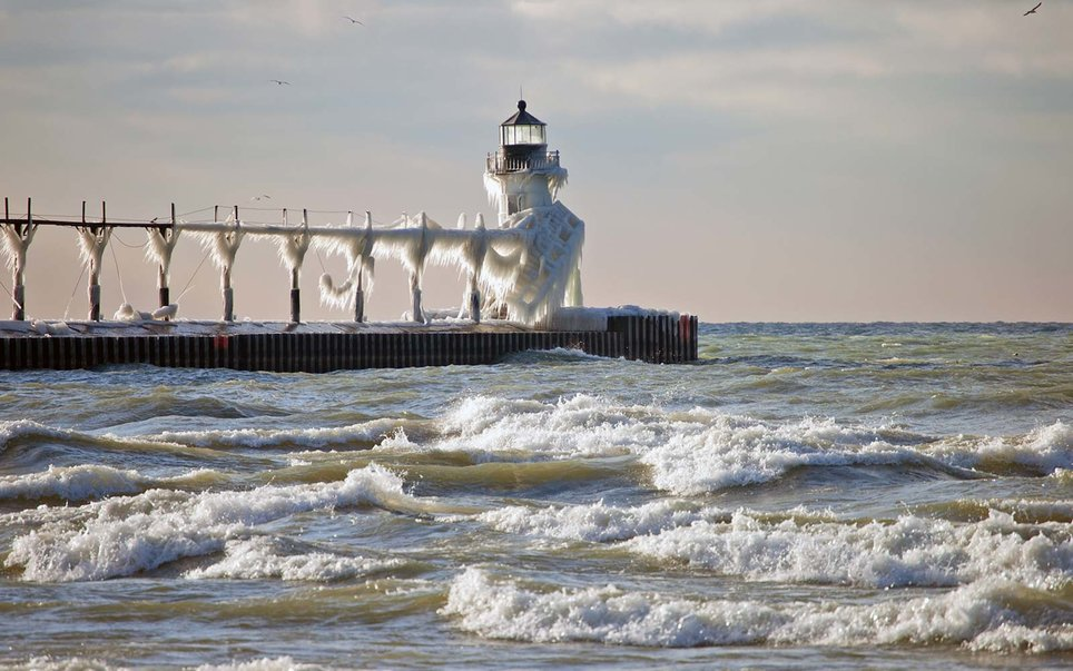 Iced over lighthouses in Michigan