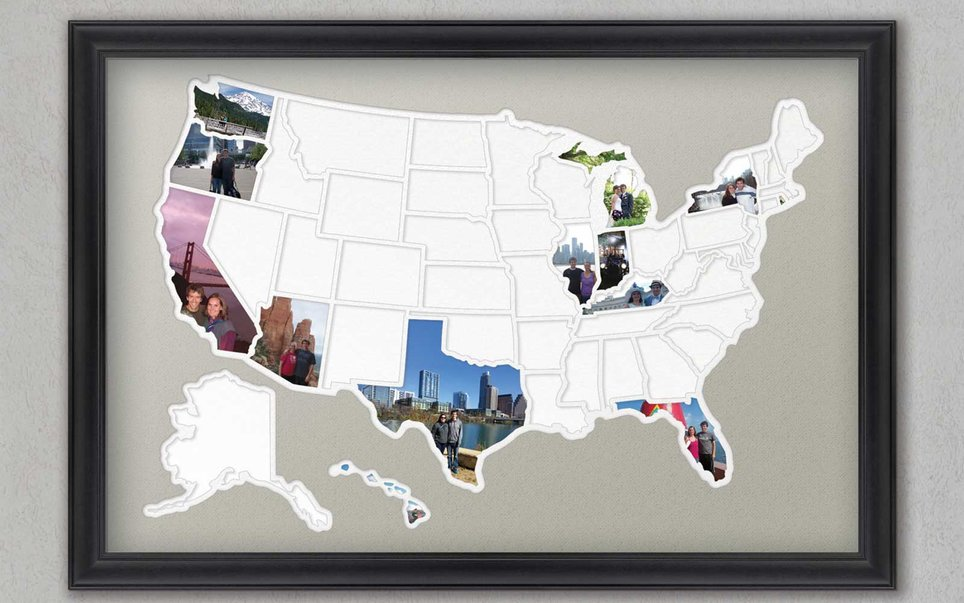 Fill in a map-shaped photo frame