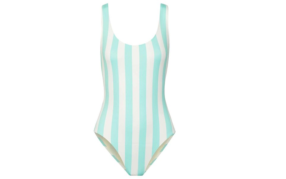 Solid and Striped one-piece swimsuit