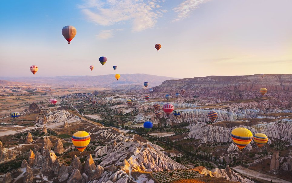 Hot Air Balloons, Rock Landscape, Cappadocia, Turkey