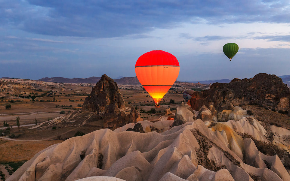 Hot Air Balloons, Sunrise, Goreme National Park, Cappadocia, Turkey