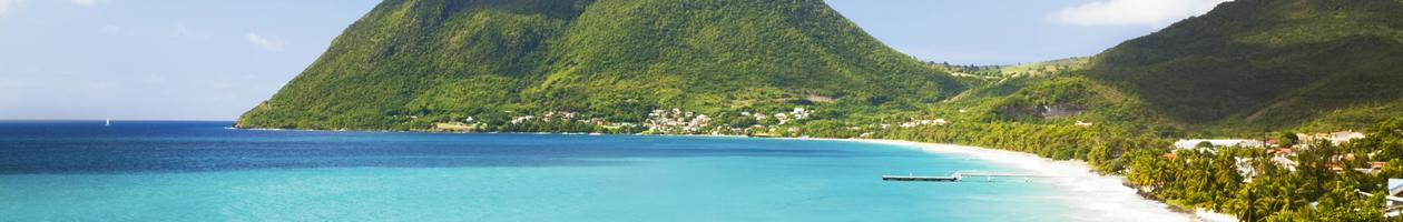 Grande Anse du Diamant beach and Morne Larcher. Martinique, Caribbean.