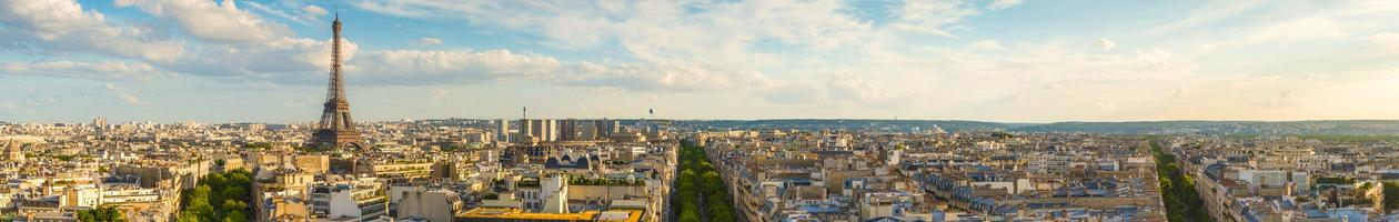 Panorama of Paris, including the Eiffel Tower