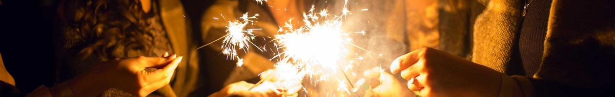 People celebrating with sparklers