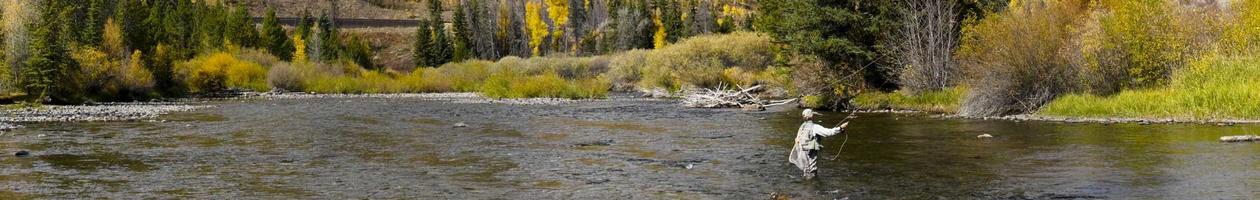 Panoramic Image of a Woman Fly-Fishing in Colorado