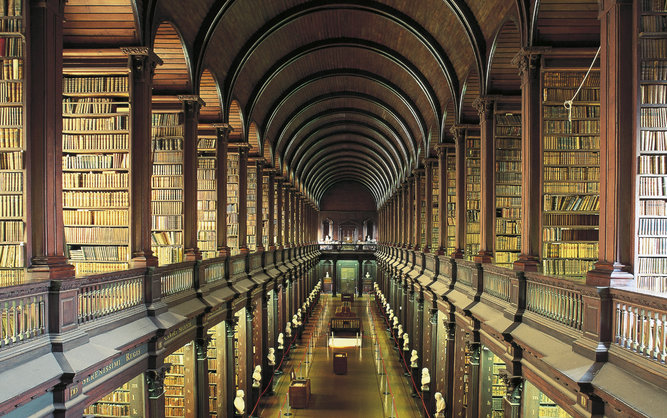 Trinity College and The Long Room Library in Dublin