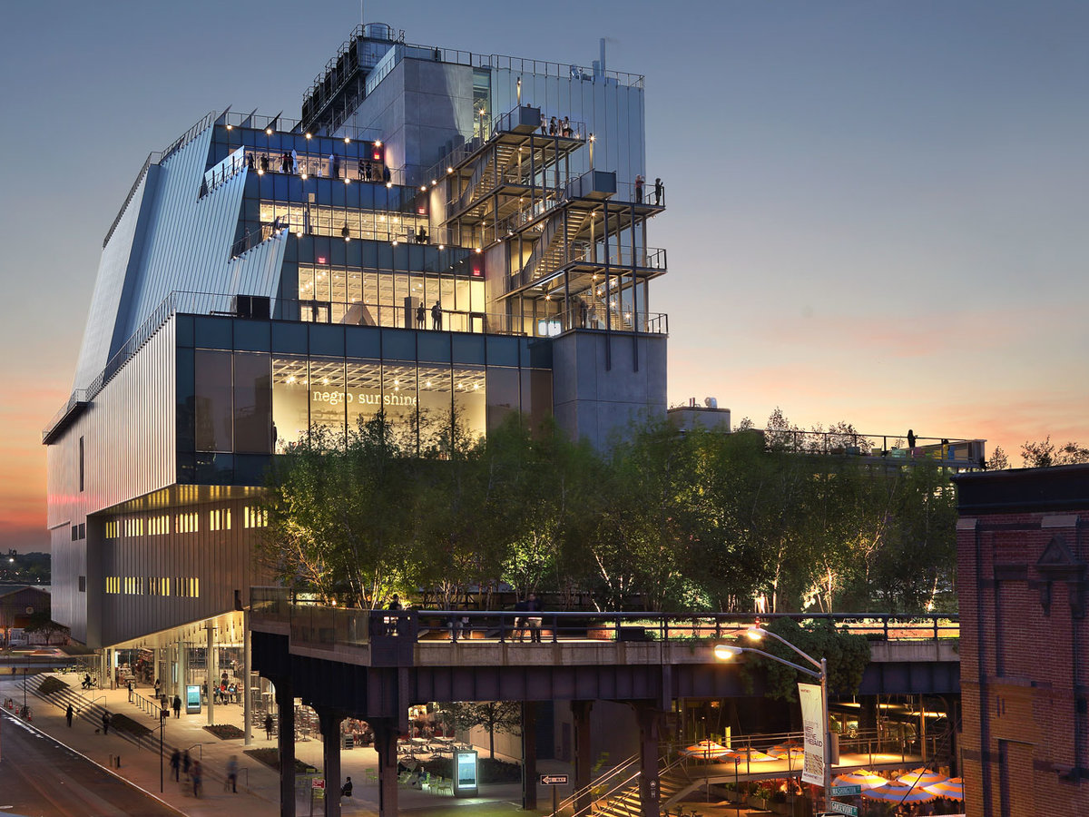 """When it opened a year ago, some critics described the new home of the Whitney Museum of American Art as """"clunky"""" or """"awkward."""" But in the end, almost everyone was won over by the asymmetrical white structure designed by Italian Pritzker Prize-winning architect Renzo Piano. Much like its surroundings in the Meatpacking District—an area of warehouses, railway lines and loft buildings—the museum isn't classically beautiful and yet it's filled with unique features: a dramatically cantilevered entrance sheltering an outdoor plaza, stacked terraces overlooking Manhattan, and vast column-free galleries framed by walls of windows."""